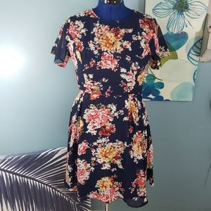 ASOS Poppy Lux Navy Floral Fit Flare Size US 8